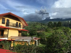 27 September Guayabo Lodge and the erupting Turrialba volcano